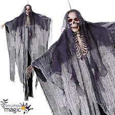 Gigante 1.8m Colgante Esqueleto Calavera Reaper Sudario Halloween Utilería iluminan los ojos