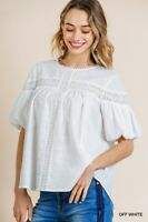 Umgee White Eyelet Lace Crochet Detail Short Puff Sleeve Top Size Small Medium