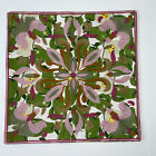 Embroidered Crewel Floral Pillow Cover Pear Canvas Fabric Green Pink 17 x 17 Zip