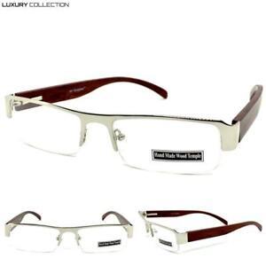 Classy Elegant Luxury Modern Clear Lens EYE GLASSES Silver Wooden Fashion Frame