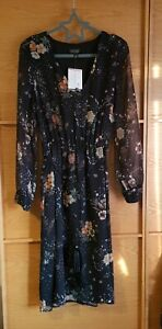 New Toshop Dress Size 10 Mid Length black floral sheer sleeves