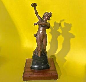 1890 Antique France Art Nouveau Jugendstil Dancing Women Statue Figurine Metal