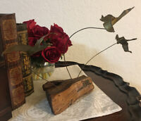 """Carved#non06 Set of 3 Dolphins on Driftwood Base 7/"""" X 7/"""""""