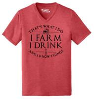 Mens That's What I Do I Farm Drink Know Things Triblend V-Neck Country Tv
