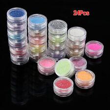 24x Couleurs Poudre Scintillant Paillette Pour Deco Ongles Faux Gel UV Vernis E4