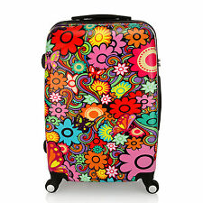"""24"""" Floral Print Luggage 4 Wheel Spinner Trolley PC Hard Shell Suitcase Travel"""