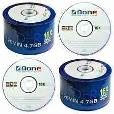 More details for 100 x aone 16x speed logo non printable blank dvd-r discs 4.7gb  2x50's120mins