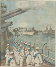 K0826 Imponente flotta passa in rivista al Re nel Golfo di Napoli_Stampa antica
