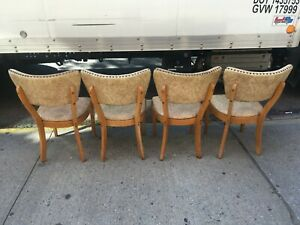 eames era blond wood formica fruit draw leaf Table 4 Chairs blond wood nailhead