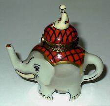Limoges Box - Elephant Teapot & Driver - Sun Face Clasp - Le #47 - Tea Pot