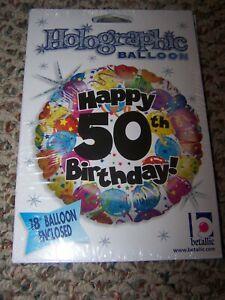 "NIP Holographic Balloon - Happy 5oth Anniversary - 18"" Balloon"