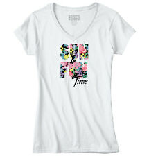 Sun Fun Time Floral Pretty Vacation Graphic Womens Juniors Petite V-Neck Tee