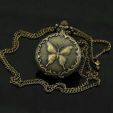 Dekorative Bronze Taschenuhr mit Schmetterling Motiv und Kette DK