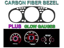 96-00 Honda Civic Manual W Tach Carbon Fiber Bezel + Red Glow Gauge Face Overlay