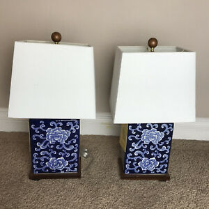 Pair of Ralph Lauren Blue & White Floral Lamps Porcelain Wood Chinoiserie Lotus