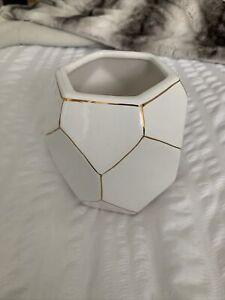 Large Ceramic Geometric Pot Vase White Gold Flower Vase Pen Pot