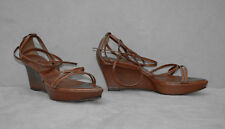 B0 Auth YVES SAINT LAURENT YSL Brown Leather Ankle Wrap Wedge Sandal Shoes Sz 36
