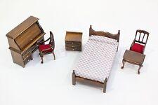 NEW 6 Piece Dolls House Dark Oak Bedroom Furniture Set 1/12th Scale - Free P&P