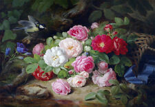19th Century Roses Flowers Floral Bird Provincial Dutch Painting Canvas Print A3