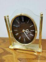 Vintage Seiko Quartz Brass & Lucite w/Chocolate Face Desk/Shelf/Mantle Clock