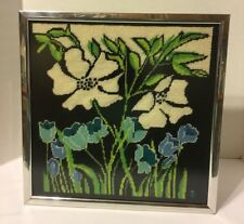 New listing Completed Framed Needlepoint Floral Green/Black/White/Blue
