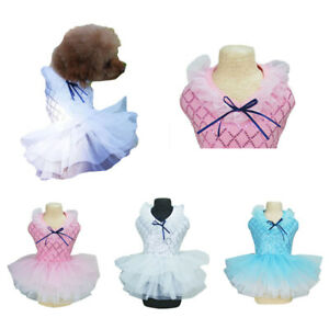 New Mesh Sequins Pet Puppy Dog Dress Clothes Doggie Lace Tutu Skirt Chihuahua