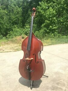 Upright Bass w/ Pickup, Preamp, Bag, 2 German Bows, Bow Quiver and Case, Stand.