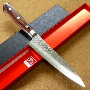 """Japanese FUJIMI Kitchen Utility Knife 5"""" Hammer Forged VG-10 Damascus From JAPAN"""