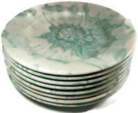 """Deruta Italy Neiman Marcus Mid Century 11 5/8"""" Marbleized Green Dinner Plate x 8"""