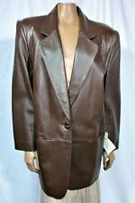 Lord & Taylor Women's Leather Coat/Jacket size 12 Button Closure Brown 2 Pockets