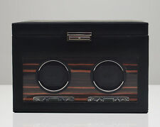 WOLF 457256 Roadster Double Watch Winder With Storage Black