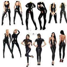 Women's PVC Leather Lingerie Catsuit Open Bust Crotch Bodysuit Jumpsuit Costume