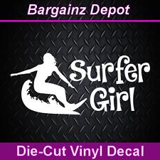Vinyl Decal.. SURFER GIRL.. Surf Surfboard Beach Waves Car Laptop Decal Sticker