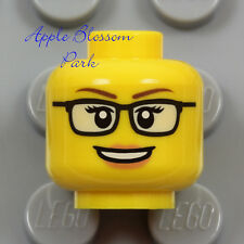 NEW Lego Female MINIFIG HEAD - Black Rimmed Rim Eye Glasses Pink Lips Girl Smile