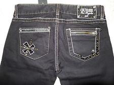 GUESS Denim Pants Black Skinny Jeans Scull & Rhinestone Embellished Size 27 NWT