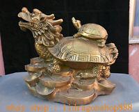 "13.6 ""Ancien Chine Cuivre Laiton Feng Shui Dragon Tortue Richesse Statue"