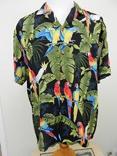Paradise Found Hawaiian Shirt Black Parrots Magnum PI Vintage Men's Large