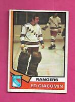 1974-75 OPC # 160 RANGERS ED GIACOMIN GOALIE  VG+  CARD (INV C7573)
