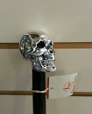 SILVER R925 SKULL HEAD WALKING STICK CANE BLACK
