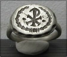 ** CHI-RHO ** Ancient Silver Roman Cristianity Ring **AMAZING **