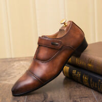 Mens Business Dress Formal Leather Shoes Flat Zipper Oxfords Loafers Pointy Toe