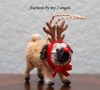 Pottery Barn Bottle Brush Pug Christmas Ornament Dog