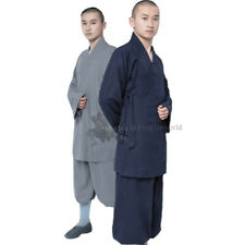 Cotton Linen Shaolin Monk Robe Kung fu Uniform Buddhist Meditation Tai chi Suit