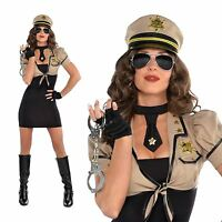 Adults Womens Sexy Sheriff US Cop Police Outfit Ladies Fancy Dress Costume + Hat