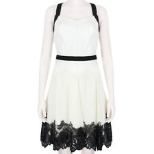Jason Wu White Leather Black Lace Hem Strapped Back Floaty Dress US6 UK10