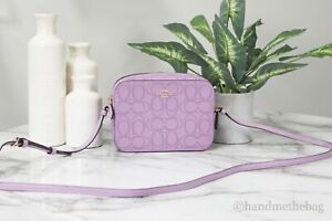 Coach 2403 Violet Orchid Signature Perforated Leather Mini Camera Crossbody Bag