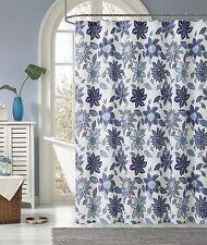 Sardinia Purple Blue White Floral Flower Fabric Shower Curtain