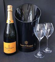 Veuve Clicquot Brut Champagner Flasche 0,75l 12% Vol + Veuve Kühler + 2 Gläser