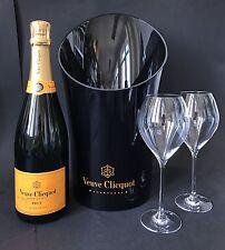 Veuve Clicquot Champagner Flasche 0,75l 12% Vol + Veuve Kühler + 2 Veuve Gläser