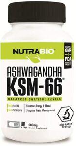 NutraBio Ashwagandha KSM-66 Herbal Supplement (90 Vegetable Caps, 600mg Each)